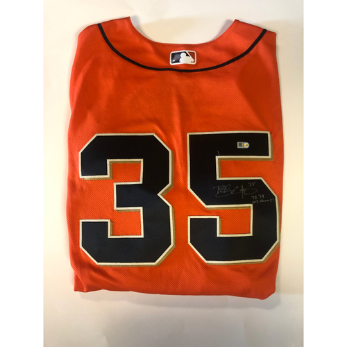 "Photo of Brandon Crawford Autographed ""12,14 WS Champs"" Orange Jersey"