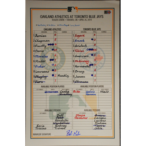 Photo of Game-Used Lineup Card 4/26/19 @ Toronto Blue Jays (Vladamir Guerrero Jr's MLB debut & 1st Hit)