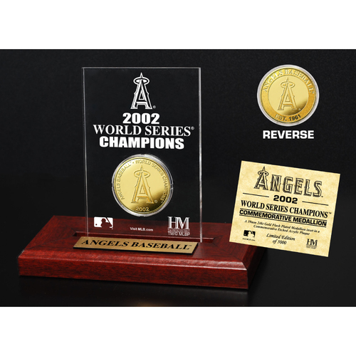 Photo of Los Angeles Angels 2002 World Series Champions Gold Coin Etched Acrylic