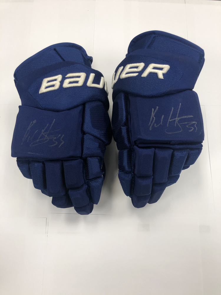#53 Bo Horvat Game Used Autographed Gloves - Vancouver Canucks