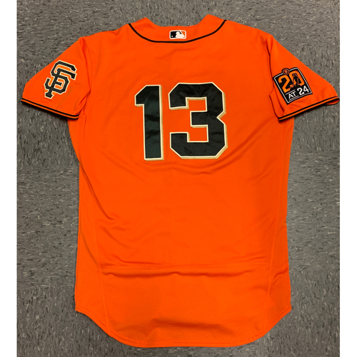 Photo of 2020 Game-Used Orange Home Alt Jersey worn by #13 Austin Slater on 7/31 vs. TEX & 9/25 Game 2 vs. SD - Size 46