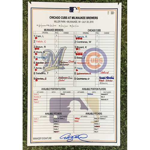 Photo of CHC@MIL 07/28/19 Game-Used Lineup Card - Kyle Schwarber 2 HR Game (3-Run HR & Grand Slam)