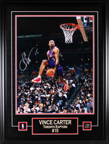 16x20 Vince Carter Signed Slam Dunk Photo Framed