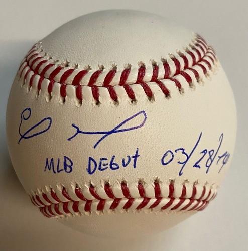 "Photo of Eloy Jimenez Autographed ""MLB Debut 3-28-19"" Baseball"