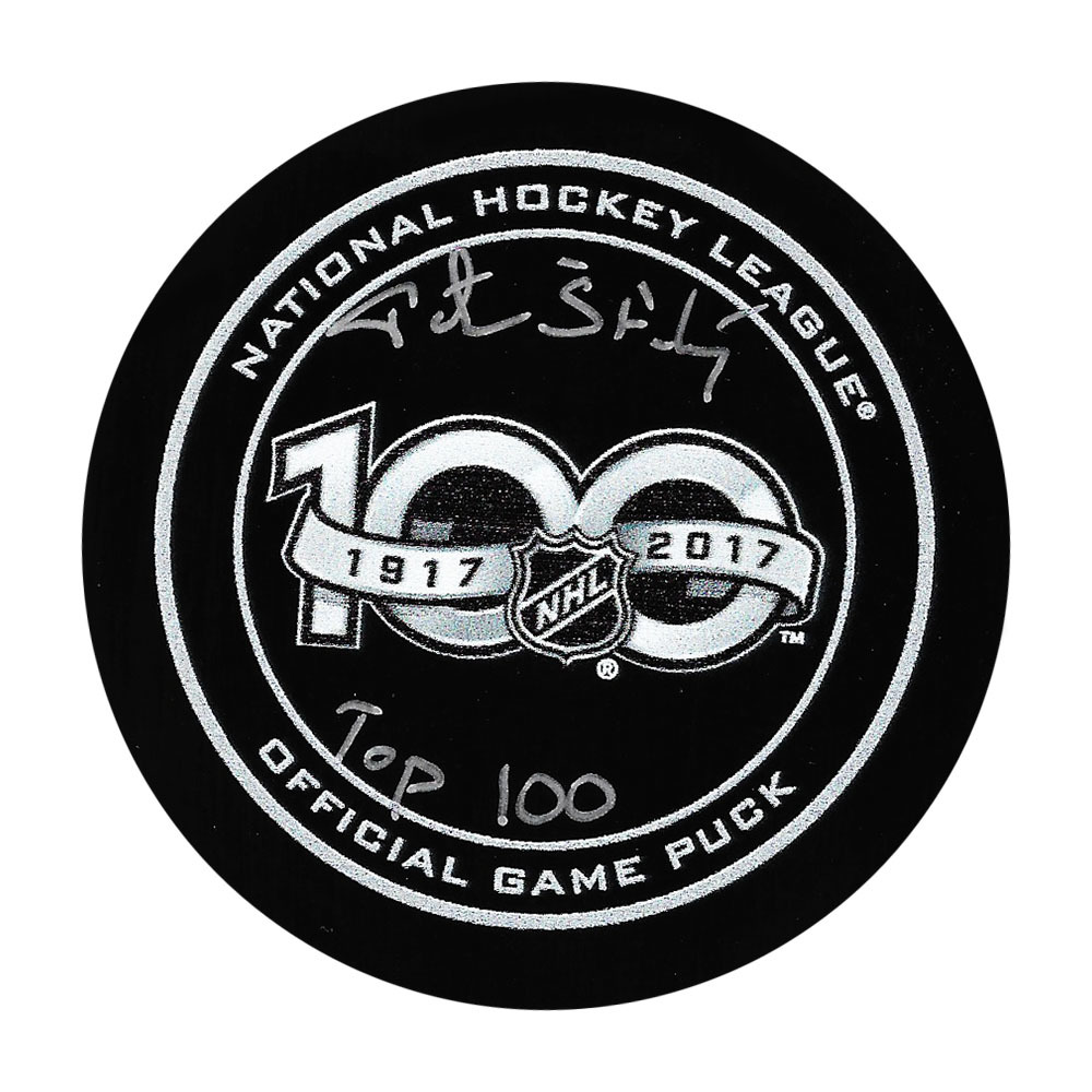 Peter Stastny Autographed NHL 100th Official Game Puck w/TOP 100 Inscription