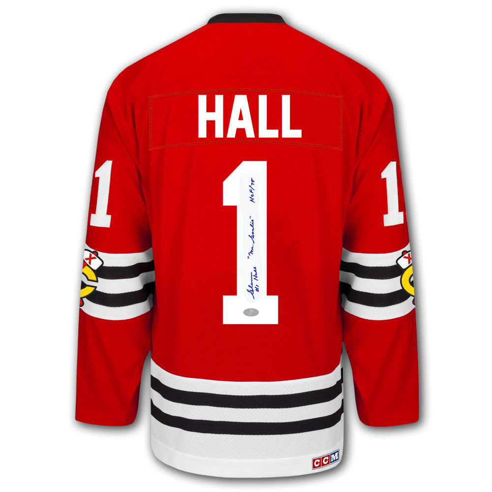 Glenn Hall Chicago Blackhawks HOF Mr. Goalie CCM Autographed Jersey