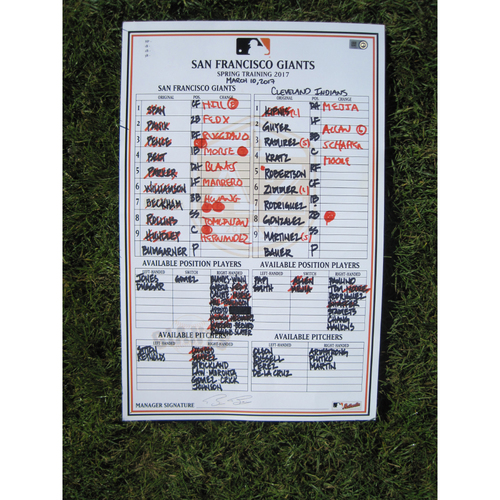 San Francisco Giants - Game Used Lineup Card - Spring Training - March 10th, 2017 vs Indians