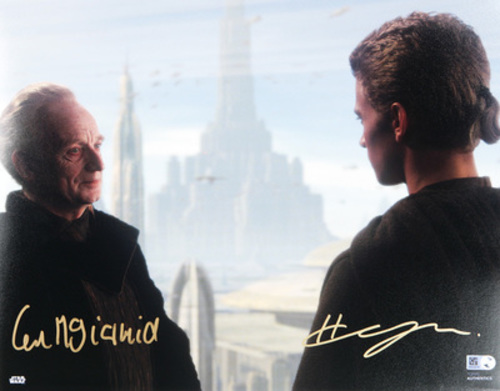 Hayden Christensen as Anakin Skywalker and Ian McDiarmid as Sheev Palpatine 11x14 Dual Autographed in Gold Ink Photo