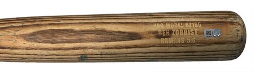 Ben Zobrist Game-Used Cracked Bat -- Carlos Martinez to Ben Zobrist, Bot 3, Double -- Cardinals vs. Cubs -- 7/21/17