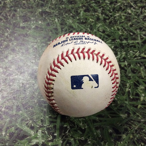 Photo of Game-Used Baseball 07/05/17 BAL@MIL - Matt Garza - Manny Machado: Double