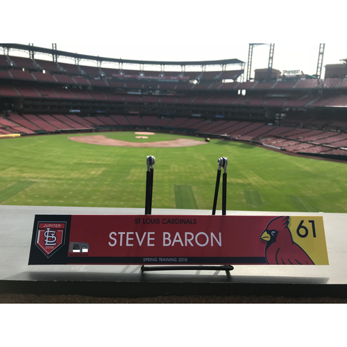Photo of Cardinals Authentics: Steve Baron Game Used 2018 Spring Training Locker Tag