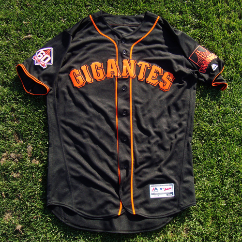 "Photo of San Francisco Giants - 2018 Black Alternate ""Gigantes"" Game-Used Jersey - Chris Shaw (size 46)"