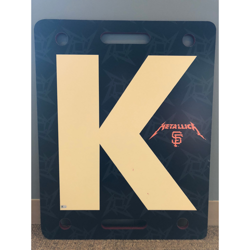 "Photo of Giants Community Fund: Metallica Night Team Issued White ""K"" Board #14"