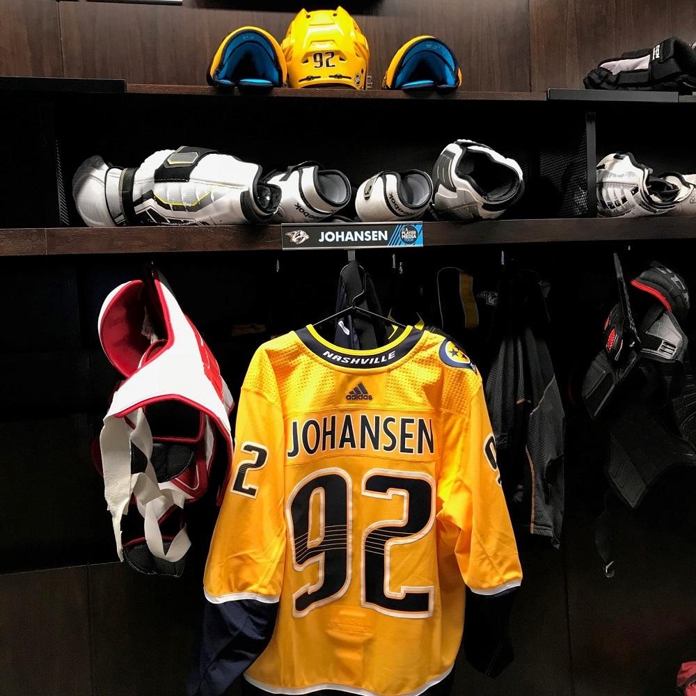 1f3dc3a8 Ryan Johansen Autographed Event Worn Jersey from 2018 Player Media Tour -  Nashville Predators