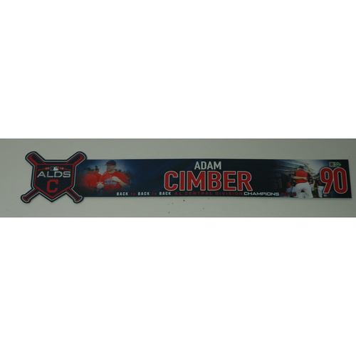 Photo of Adam Cimber Game-Used 2018 ALDS Locker Name Plate - Game 3 - 10/8/18
