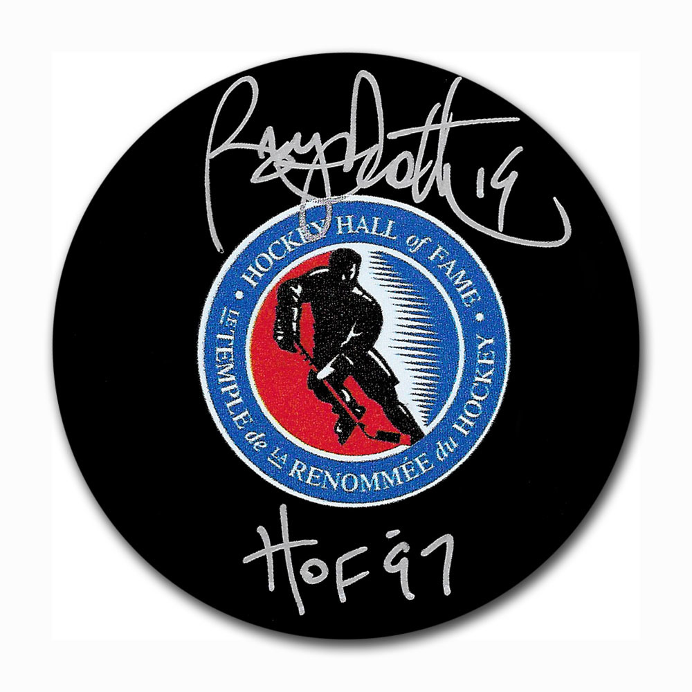 Bryan Trottier Autographed Hockey Hall of Fame Puck w/HOF 97 Inscription