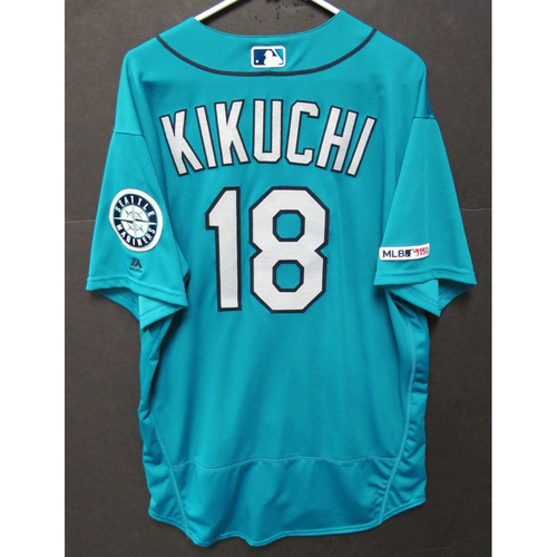 Photo of Yusei Kikuchi Game-Used Green Jersey - 7-26-2019 - Size 50
