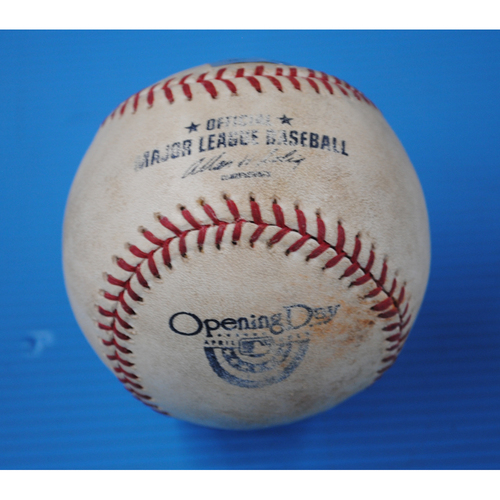 Photo of Game-Used Opening Day Baseball - Giants @ Dodgers - Batter Carl Crawford, Pitcher - Matt Cain - Bottom of 3rd, Pitch in Dirt - 4/1/13