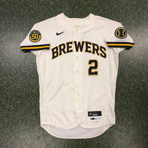 Photo of Luis Urias 2020 Team-Issued Home Cream Jersey