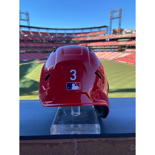 Photo of Cardinals Authentics: Game-Used Dylan Carlson Home Red Helmet