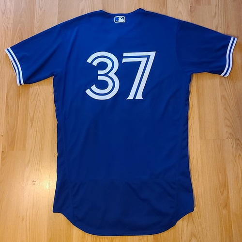 Photo of Authenticated Game Used Spring Training Jersey: #37 Teoscar Hernandez (Mar 26, 2021: 0-for-3). Size 44.