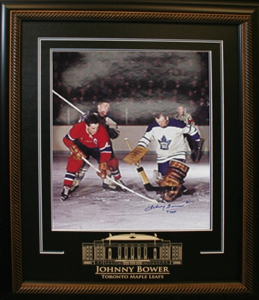 Johnny Bower - Signed & Framed 16x20 Etched Mat - Toronto Maple Leafs With Beliveau