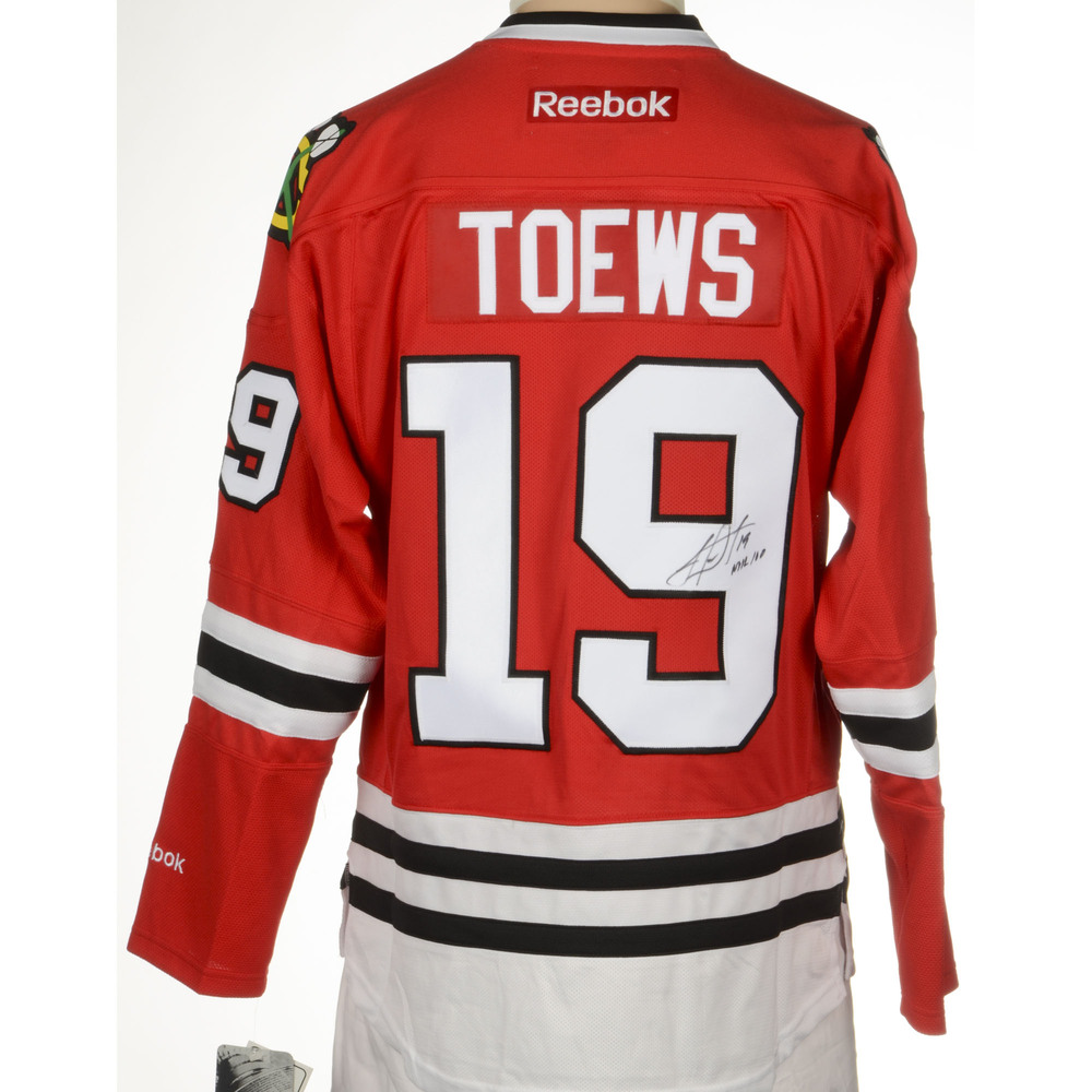 Jonathan Toews Chicago Blackhawks Autographed Reebok Premier Jersey with Centennial  Patch and NHL 100 Inscription. Auctioned by the National Hockey League ... 21b401901
