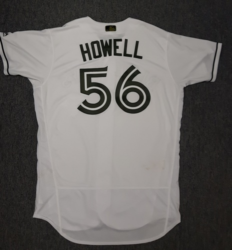 Photo of Authenticated Game Used 2017 Memorial Day Jersey - #56 JP Howell. Howell went 1 IP with 1 hit and 1 strikeout. Size 46
