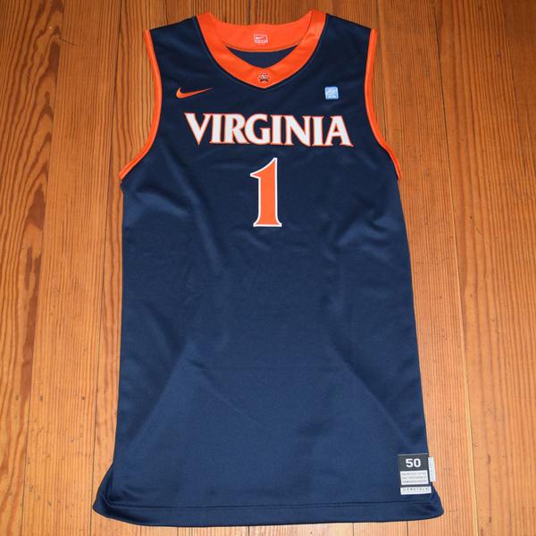 Photo of Game-Worn University of Virginia Women's Basketball Jersey: Navy #1