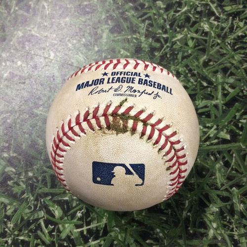 Photo of Game-Used Baseball 09/17/17 MIA@MIL - Brandon Woodruff - Ichiro Suzuki: Foul