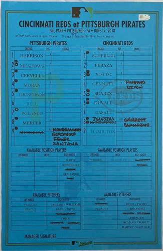 Photo of Game-Used Lineup Card from Pirates vs. Reds on 6/17/18 - Father's Day