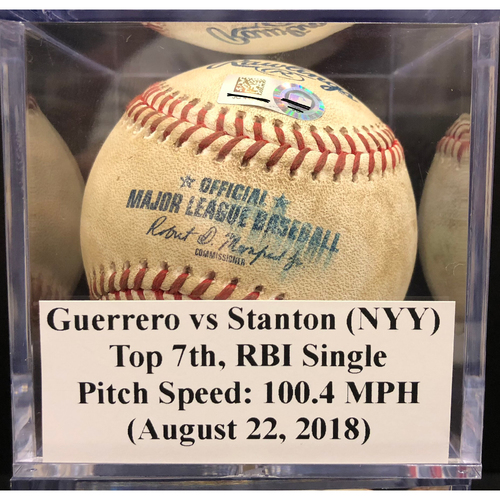 Photo of Game-Used Baseball: Giancarlo Stanton RBI Single vs. Tayron Guerrero Pitch Speed: 100.4MPH (August 22, 2018)