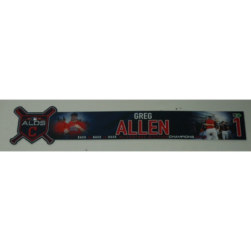 Photo of Greg Allen Game-Used 2018 ALDS Locker Name Plate - Game 3 - 10/8/18