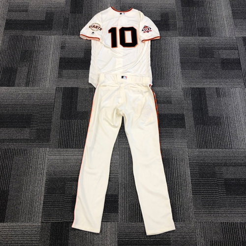 Photo of San Francisco Giants - 2018 Team Issued Home Jersey and Team Issued Pants worn by #10 Evan Longoria - Jersey Size: 44 - Pant Size: 35-38-35