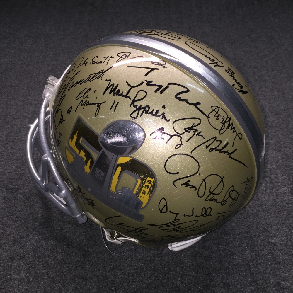 NFL - SB50 multi signed proline helmet signed by all living SB MVP's (Including Tom Brady, Peyton Manning, Aaron Rodgers, Joe Namath, Terry Bradshaw, Joe Montana, Jerry Rice, Drew Brees, Emmitt Smith)