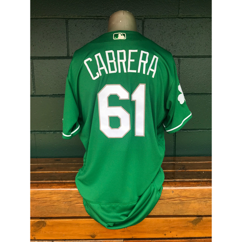 Photo of Cardinals Authentics: Team Issued Genesis Cabrera 2019 Green St. Patrick's Day Jersey