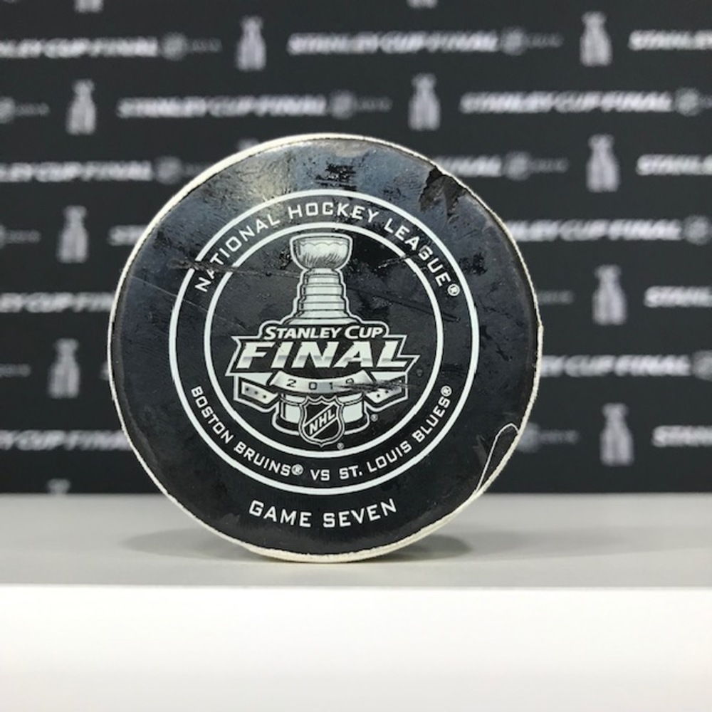 2019 NHL Stanley Cup Final, Game 7, Period 1, Official Game Used Puck - Boston Bruins vs. St Louis Blues - 6/12/19