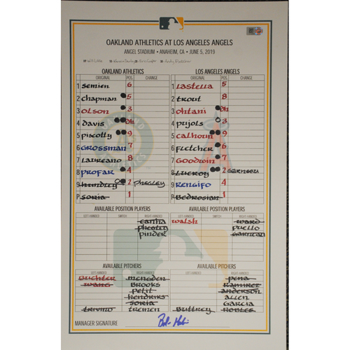 Photo of Game-Used Lineup Card 6/5/19 @ Los Angeles Angels (Ohtani's 5th Home Run & Trout's 15th Home Run)