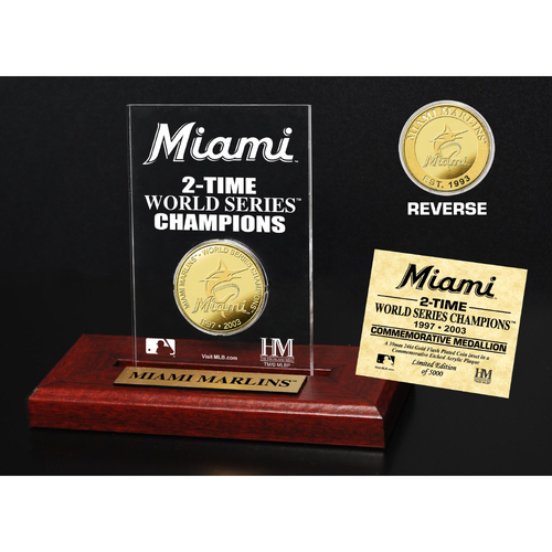 Photo of Miami Marlins 2-Time World Series Champions Gold Coin Etched Acrylic