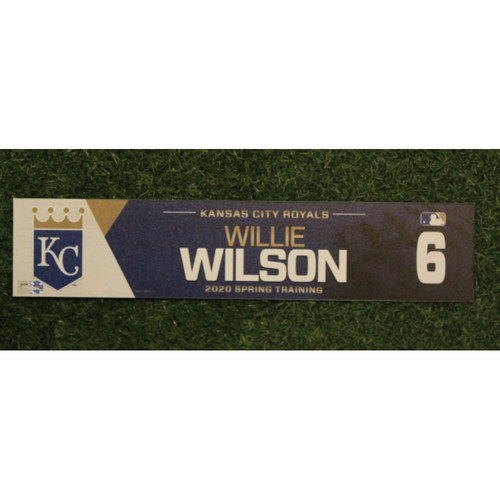 Photo of Game-Used Spring Training Locker Tag: Willie Wilson #6