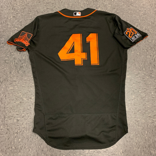 Photo of 2020 Game-Used Black Home Alt Jersey worn by #41 Wilmer Flores on 8/1 vs. TEX - Size 46