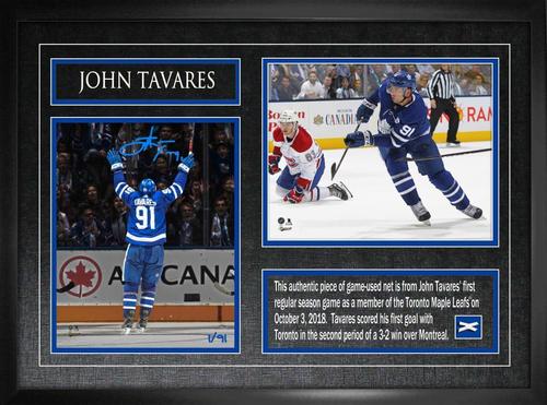 8x10 John Tavares Signed First Goal w/ Net Photo Framed (L/E of 91)