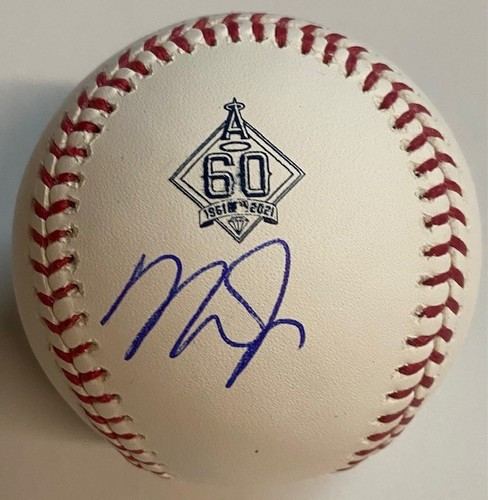 Photo of Mike Trout Autographed 60th Anniversary Angels Baseball