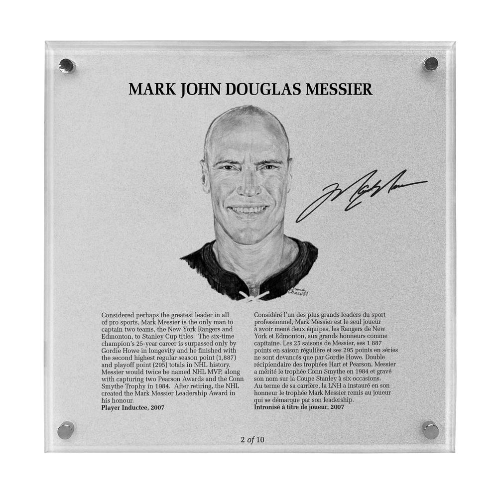 Mark Messier Autographed Legends Line Honoured Member Plaque - Limited Edition 8/10