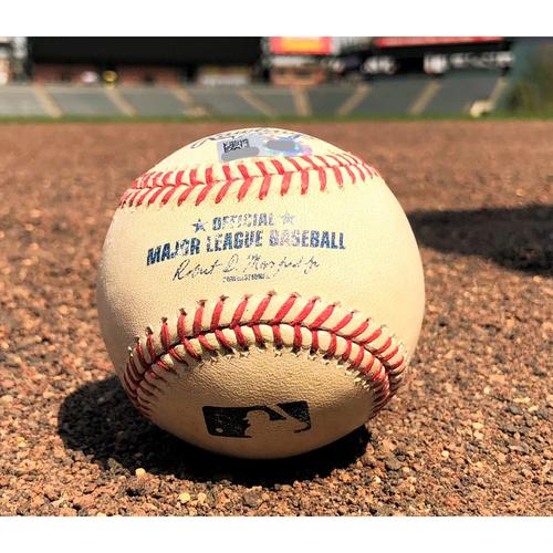 Photo of Colorado Rockies Game-Used Baseball - Bettis v. Suzuki - Double - 8-14-17