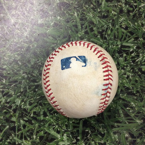 Photo of Game-Used Baseball NYM@MIL  07/05/13 - Zack Wheeler - Norchika Aoki: Single
