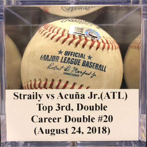 Photo of Game-Used Baseball: Straily vs Acuña Jr.(ATL), Top 3rd, Career Double #20 (August 24, 2018)