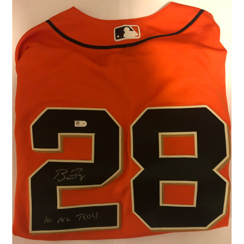 "Photo of Buster Posey Autographed ""10 NL ROY"" Giants Orange Jersey"