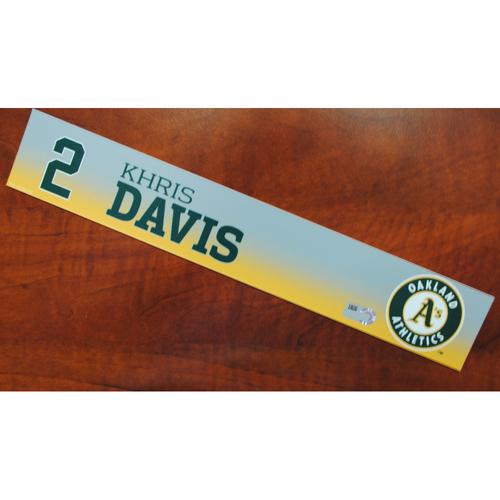 Photo of Game-Used Khris Davis 2019 Spring Training Locker Nameplate