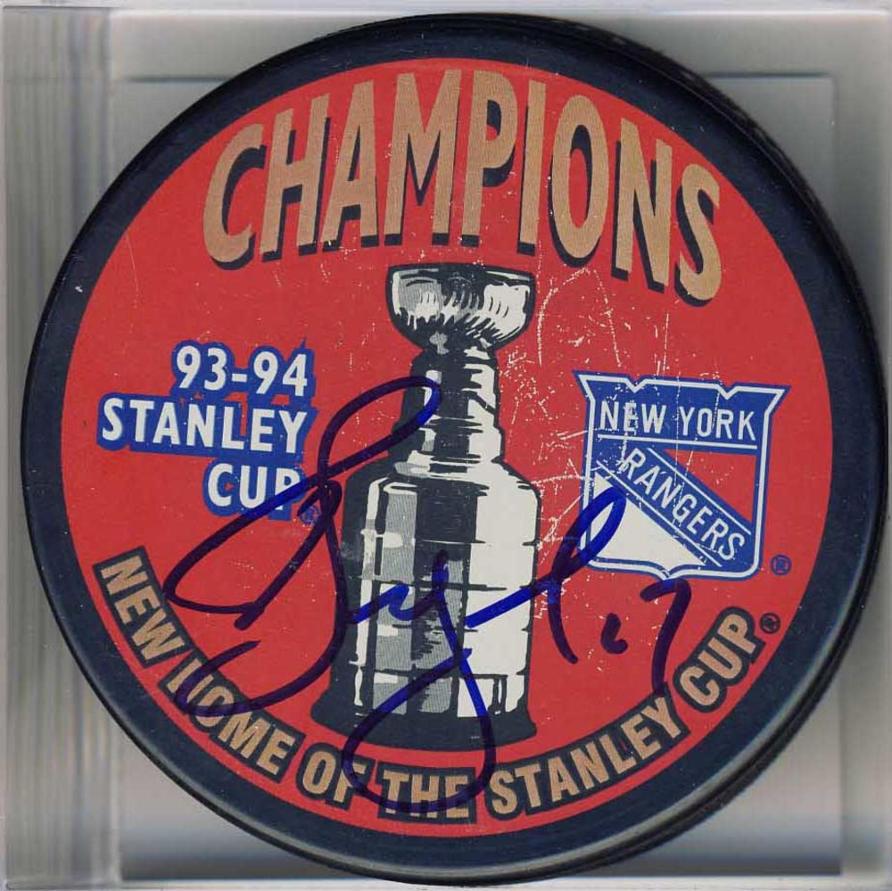 Alexei Kovalev New York Rangers Autographed 1994 Stanley Cup Puck *Scratch Marks on Puck*